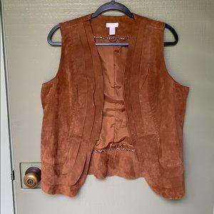 VINTAGE- genuine leather boho hippie vest